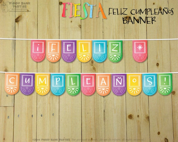 FIESTA Feliz Cumpleaos Banner DIY Printable Spanish Happy