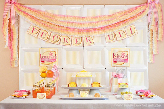 PUCKER UP Collection : DIY Printable Bridal Shower Decoration | Wedding | Lemonade | Kiss | Lemon Themed - Instant Download