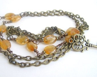 Brass Key Necklace / Citrine Necklace /  Genuine Gemstone / Golden Citrine / Chain & Rosary Style