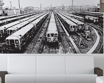 Vinyl Wall Decal Sticker Train Line Up 5209s