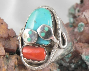 Turquoise and Coral Snake Ring