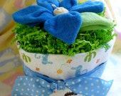 Diaper Cake with Large Flower..Baby Boy.. Baby Receiving Blanket..7 Baby Washcloths..Baby Shower Centerpiece..Beautiful ..Budget Friendly :)