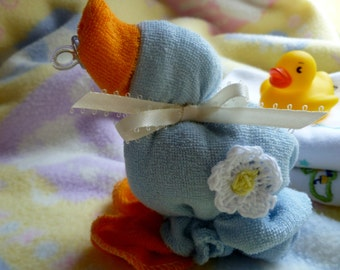 The ORIGINAL WASHCLOTH DUCK..Baby Quackers..Blue or Pink..Baby Shower...Washcloth Animal..Duck Themed Baby Shower...So Quacking Cute :)