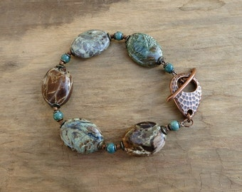Rustic Green & Brown Bracelet inspired by verdigris, earthy Bohemian jewelry with chunky stone ovals and copper accents