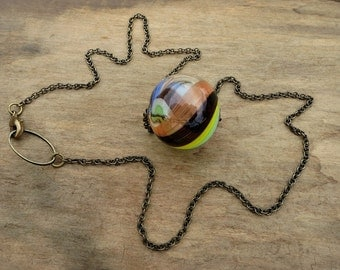Glass Marble Bubble Necklace, swirled multicolored blown glass orb necklace, unique rustic modern jewelry on brass chain