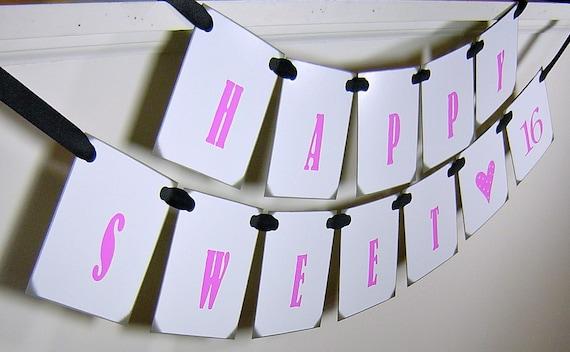 items similar to sweet 16 sign vintage inspired hot pink. Black Bedroom Furniture Sets. Home Design Ideas