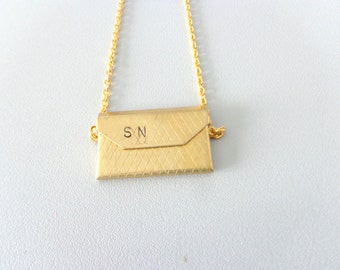 Envelope brass initials pendant necklace, personalized locket jewelry