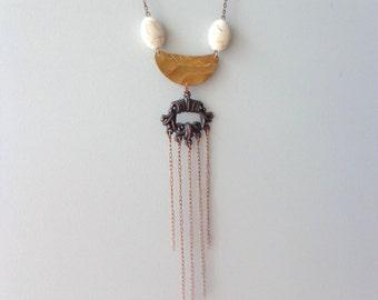Tribal chevron white copper necklace