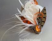 RORY - Burnt Orange & Ivory Peacock Feather Hair Clip Fall Wedding Fascinator w/ Pheasant, Guinea and Duck Feathers, Orange Rhinestone Jewel