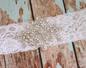 CLARA - Wedding garter with rhinestone applique, bridal garter, handmade