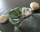 HALF PRICE SALE!! New Zealand Jewelry, Green Beached Glass Ring, New Zealand Ring, From My Travels New Zealand 2005, Orignally 45.00