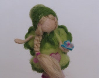 Needle felted Waldorf inspired elf with buttefly