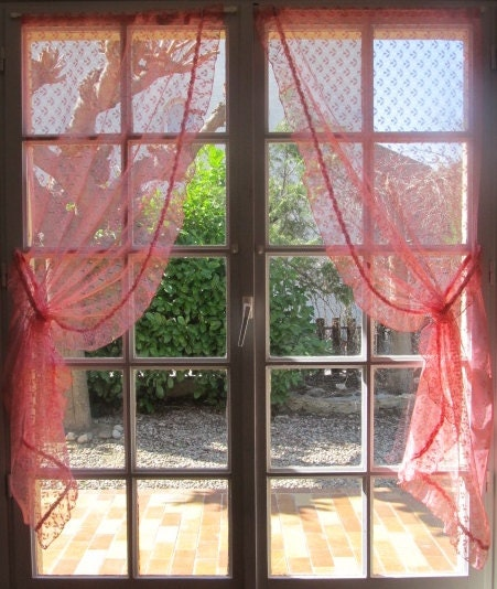 ruffled window curtains pair pink lace curtains by