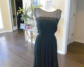 1940s Black Illusion Dress / 50s Sexy Black Cocktail Dress /R K Originals Illusion Dress / Size 6
