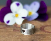 Sterling Silver Heart Ring - Valentine gift - Unique Wedding Band, Heart Cutout Ring, Promise Ring, Women's Rustic Ring - Girlfriend Gift