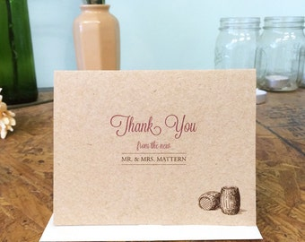 Wine Barrel Thank You cards; set of 25 with matching envelopes; kraft brown paper