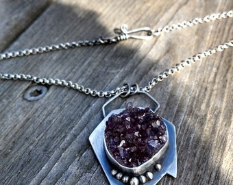 Geo Druzy Sterling Silver Peace Necklace ***SALE***