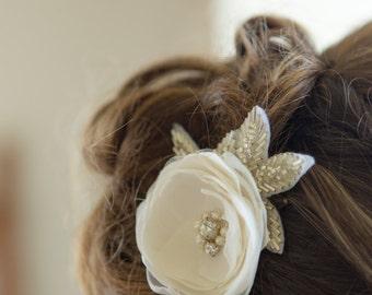 Bridal hair flower Wedding hair flower with beaded leaves, Bridal hair accessories, Bridal headpiece, Bridal fascinator