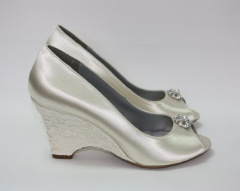 Wedding Shoes - Wedge - Lace Wedge Shoes - Outdoor Wedding - Over 100 Colors - Wedge Wedding Shoe - Comfortable Shoes - Beach Wedding Shoes