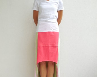 T-Shirt Skirt Womens Skirt Women's Long T Shirt Skirt Pastel Colors Handmade Clothing Cotton Skirt Summer Skirt ohzie