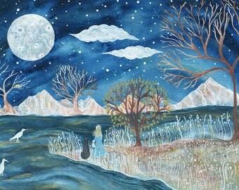 Fine Art Print-Night of the Snowy Egret