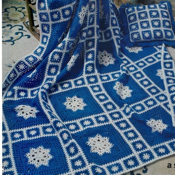Crochet Pattern Snowflake Afghan : Vintage Crochet Pattern Snowflake Granny Square Motif Afghan