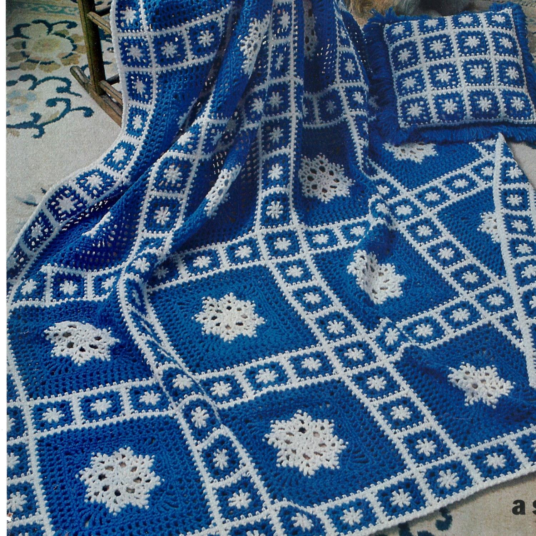 Vintage Crochet Pattern Snowflake Granny Square Motif Afghan