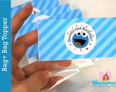 Cookie Monster Treat Bags, Cookie Monster  Goodie bags ready for your party,  Personalized Bag Toppers  A1047