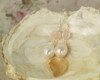 Teardrop earrings - Freshwater pearls, Rose quartz and Sterling silver - Romantic - June birthstone -