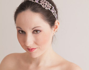 Michelle - Large Vintage style Jeweled Ribbon Headband in Lavendar