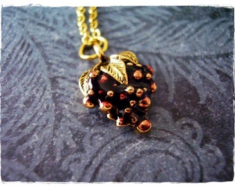 Purple Grapes Necklace - Purple Enameled Antique Gold Pewter Grapes Charm on a Delicate Gold Plated Cable Chain or Charm Only