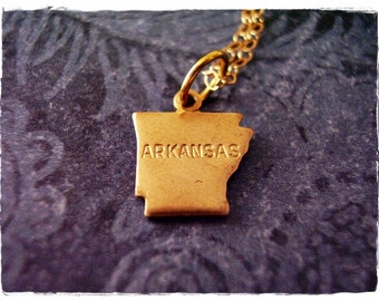 Tiny Gold Arkansas State Necklace - Raw Brass Arkansas Charm on a Delicate 14kt Gold Filled Cable Chain or Charm Only