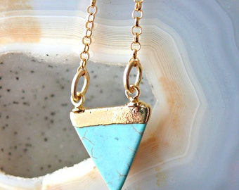 Turquoise Necklace - Triangle Necklace - 24k Gold Turquiose Necklace - Gold Triangle Necklace