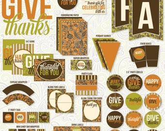 Give Thanks Thanksgiving PRINTABLE Party (INSTANT DOWNLOAD) by Love The Day
