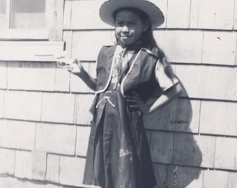 Little Lucy Dressed Up in Her COWGIRL OUTFIT With Her Toy Cap GUN Photo Circa 1940s