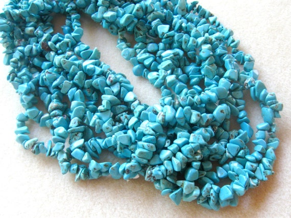 """Magnesite Chip Beads Turquoise Blue Color Craft Supplies Bead Supplies Jewelry Supplies Gemstone Beads Jewelry Making Beads Endless Loop 32"""""""