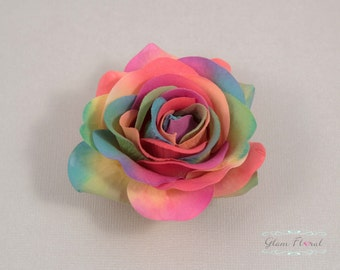 Rainbow Rose Hair Clip, Real Touch Wedding Hair Fascinator Hair Head Piece. bridesmaids, prom Real Touch Flowers. Tea Rose Collection