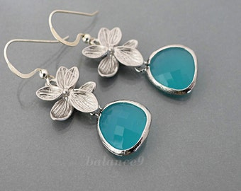 Flower crystal earrings, Azalea earrings, Mint green crystal drop, silver flower dangle, sterling earwire, holidays gift, by balance9