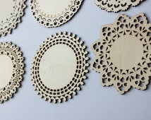 Set of 12 LACE WOOD CUTOUTS Filigree Style Cut Out Wooden Doilies Doily Diy Vintage Wedding Gift Tags Signs Banners Coasters Rustic Chic