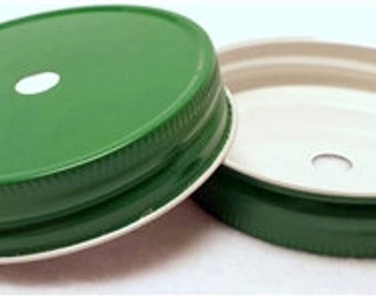 24 Green MASON JAR DRINKING Lid Regular Mouth Lids for Diy Drinking Jars To Go Glasses Silver Galvanized Pair with Our Jars/Straws!