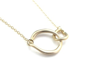 Double link necklace , gold links necklace , two circles necklace gold , infinity gold necklace , two rounds necklace