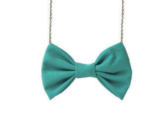 Green Bow Tie Necklace , Casual funky bowtie