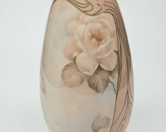 Pink and Cream Flower Vase Hand Painted in Soft Pink and Cream Roses Touches of Gold