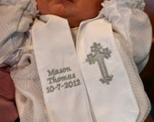 Personalized Baptism Christening Stole - White with Choice of Embroidery Color Newborn, Child, Adult, Dedication, Christening, New Baby Gift