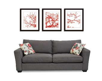 Magnolia Tree Branches Wall Art Print Set - 11x14 - Red- Nature Contemporary Home Decor - Multi Panel Wall Art - Woodland