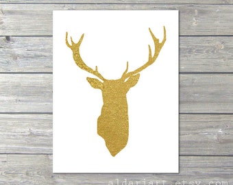 Gold Deer Antlers Stag Art Print Modern Gold Home Decor - Woodland Creature - Gold and White
