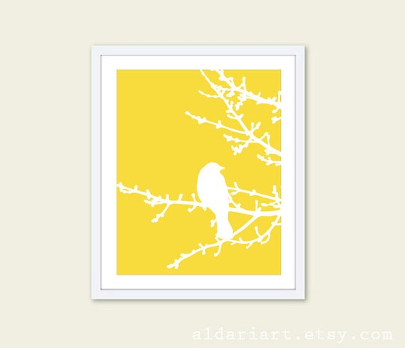 Spring Bird on Tree Digital Print Yellow and White - Wall Art Home Decor Modern Woodland Branches - Bird on Twig
