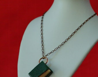 Green tiny book necklace