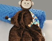 Lovey Blanket, Baby Blanket, Brown Security Blanket with Urban Zoologie Monkeys for a Baby