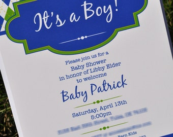 Argyle Invitations - Birthday or Baby Shower Invitations - Boys Birthday Decorations - Argyle Golf Theme - Set of 12